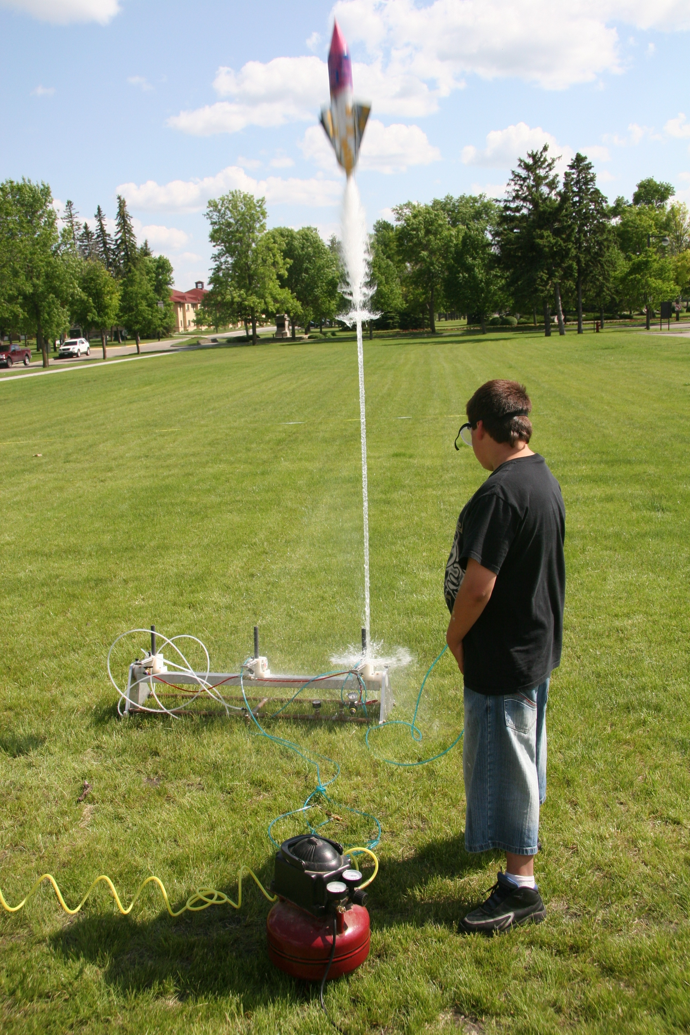 Flying model rockets is a relatively safe and inexpensive way for students to learn the basics of forces and the response of a vehicle to external forces.
